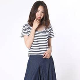 ミージェーン me Jane 細ボーダー短丈Tシャツ (WHT/ネービー)