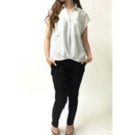 ミージェーン me Jane ビエラ半袖スキッパーシャツ (BLK/ホワイト)