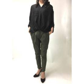 ミージェーン me Jane ビエラ長袖スキッパーシャツ (ブラック)
