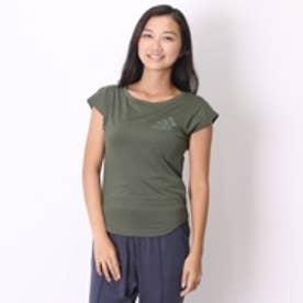 アディダス adidas Tシャツ W Fitness ロゴ フレンチスリーブTシャツ AH8340 グリーン (オリーブ)