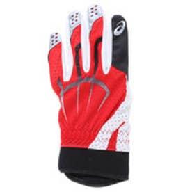 アシックス asics ジュニア守備手左手用 守備用手袋(片手) BEG331 (ホワイト×レッド)