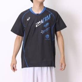 アシックス asics バレーボールウォームアップジャケット XWW615 HS ブラック (ブラックRY/BL)