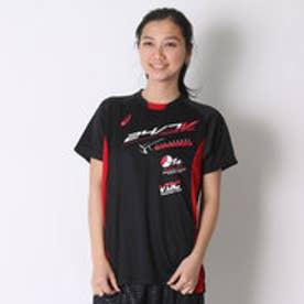 アシックス asics バレーボールプラクティスシャツ プラシャツHS XW6622  (ブラック×Vレツド)