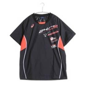 アシックス asics バレーボールウォームアップジャケット ウオームアップシャツHS XWW616  (ブラック×フラッシュコーラル)