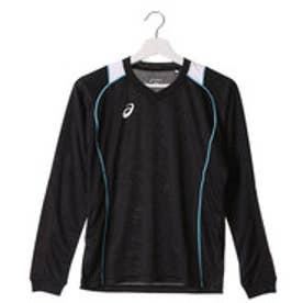 アシックス asics バレーボールプラクティスシャツ W'SプラシヤツLS XW6419 (ブラック×ブルー)