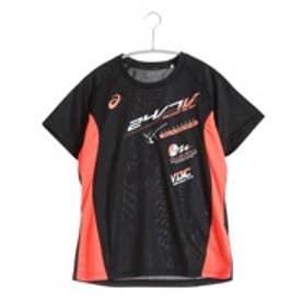 アシックス asics バレーボールプラクティスシャツ W'SプラシャツHS XW6197  (ブラック×フラッシュコーラル)