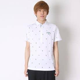 キャロウェイ Callaway ゴルフシャツ ブラジルモノグラムプリントサッカーショートワイドシャツ 6157523 (ホワイト)