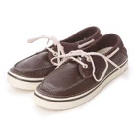 クロックス crocs カジュアルシューズ フーバーレザーボートシュー 12595 2089 (ブラウン)