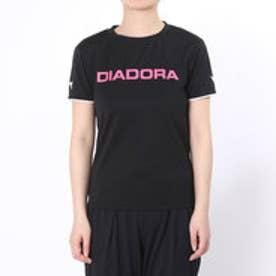 ディアドラ Diadora テニスウェア W マルチプラクティスシャツ AP6337 ブラック (ブラック×ピンク)