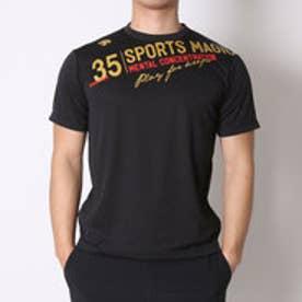 デサント DESCENTE バレーボールTシャツ ハンソデプラクテイスシヤツ DVB-5627B  (ブラック×ゴールド)