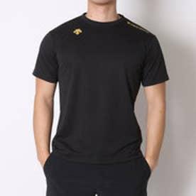 デサント DESCENTE バレーボールTシャツ ハンソデプラクテイスシヤツ DVB-5627C  (ブラック×ゴールド)