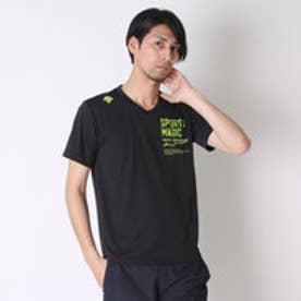 デサント DESCENTE バレーボールTシャツ ハンソデプラクテイスシヤツ DVB-5627A  (ブラック×グリーン)