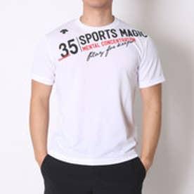 デサント DESCENTE バレーボールTシャツ ハンソデプラクテイスシヤツ DVB-5627B  (ホワイト×ブラック)