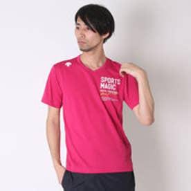 デサント DESCENTE バレーボールTシャツ ハンソデプラクテイスシヤツ DVB-5627A  (マゼンダ×ホワイト)