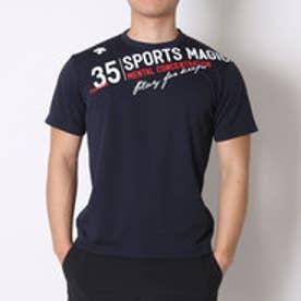デサント DESCENTE バレーボールTシャツ ハンソデプラクテイスシヤツ DVB-5627B  (ネイビー×ホワイト)