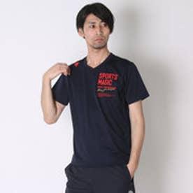 デサント DESCENTE バレーボールTシャツ ハンソデプラクテイスシヤツ DVB-5627A  (ネイビー×レッド)