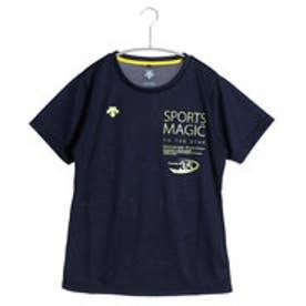 デサント DESCENTE バレーボールTシャツ ハンソデプラクテイスシヤツ DVB-5627DW  (ネイビー×イエロー)