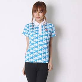 ルコックスポルティフ le coq sportif ゴルフシャツ 半袖シヤツ(ニツト) QGL2603 (ホワイト×ブルー)