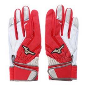 ミズノ MIZUNO バッティンググローブ(両手) グローバルエリート Leather 1EJEA13362 (ホワイト×レッド×シャンパンゴールド)
