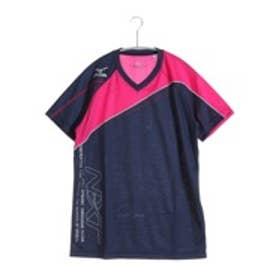 ミズノ MIZUNO バレーボールプラクティスシャツ プラクティスシャツ V2JA608387  (ドレスネイビー×ベリーピンク)