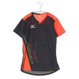 ミズノ MIZUNO バレーボールプラクティスシャツ プラクティスシャツ V2JA628295  (ブラック×フレイムオレンジ)