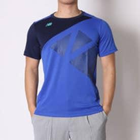 ニューバランス new balance テニスTシャツ BRカラーブロックショートスリーブTシャツ JMTT6135 ブルー (パシフィック)