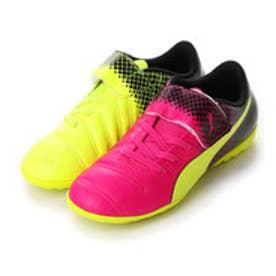 プーマ PUMA ジュニアサッカートレーニングシューズ エウ゛ォパワー 4.3 トリックス TT V JR 103628 2791 (ピンク グロー×セーフティ イエロー)