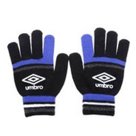 アンブロ UMBRO ジュニア サッカー/フットサル 手袋 JRマジックニットグローブ UJA8605J (ブラック×ブルー)