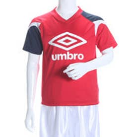 アンブロ UMBRO ジュニアサッカープラクティスシャツ JR プラクティスS/Sシャツ UBS7606SDJ レッド  (マンチェスターレッド×マンチェスターレッド×ネイビー×ホワイト)