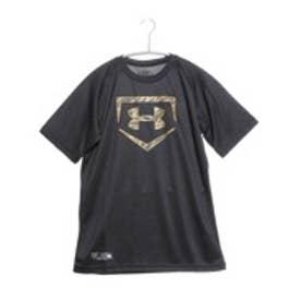 アンダーアーマー UNDER ARMOUR ジュニア野球Tシャツ UAビッグロゴソリッドベースボールシャツ #BBB2207 (ブラック×ゴールド)