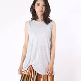 アルージュ Alluge シャイニー裾ツイストロングタンク (L.GRY)