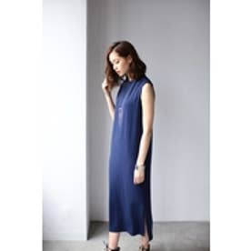 【AZUL by moussy】フレンチスリーブサイドスリットロングワンピース NVY