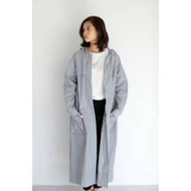 【AZUL by moussy】ナイロンワッシャーロングコート L/GRY