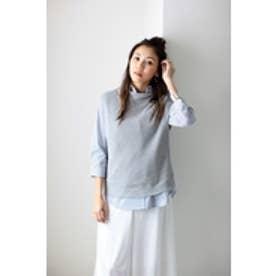 【AZUL by moussy】コットン100%ノースリニット×シャツSET