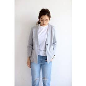 【AZUL by moussy】ポンチノーカラーカットジャケット T.GRY