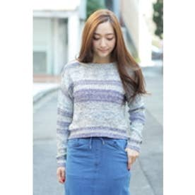 【AZUL by moussy】MIXリリーヤーンかすれボーダー長袖プルオーバー 柄NVY