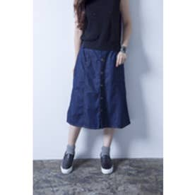 【AZUL by moussy】デニムF釦フレアスカート Stone Wash