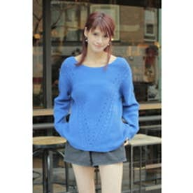 【AZUL by moussy】C/Aアイレット地柄ラウンドネック長袖プルオーバー NVY