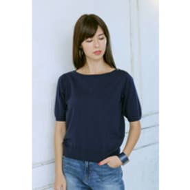 【AZUL by moussy】14G 綿100%釦付き5分プルオーバー NVY
