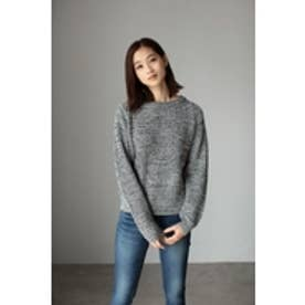 【AZUL by moussy】MIXカラー片畦編みクルーネック長袖プルオーバー 柄BLK
