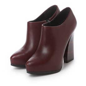 チャールズ アンド キース CHARLES & KEITH BootsPlatform CoveredBootie Heels (Burgundy)