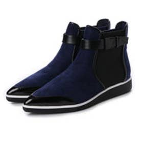 チャールズ アンド キース CHARLES & KEITH Ankle Boot Flats (Navy)