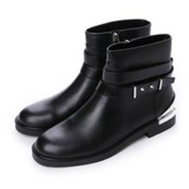 チャールズ & キース CHARLES & KEITH Ankle Boot Flats (Black)