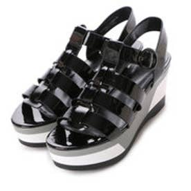 チャールズ & キース CHARLES & KEITH Platform Open Toe Sandals (Black)