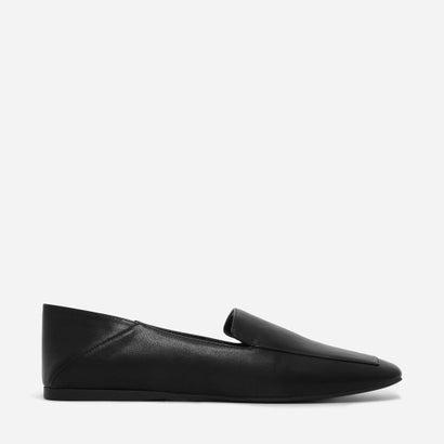 スクウェアトゥスリッポンフラット / SQUARE-TOE SLIP-ON FLATS (Black)