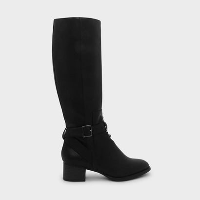 バックルニーブーツ / BUCKLE KNEE BOOTS (Black)