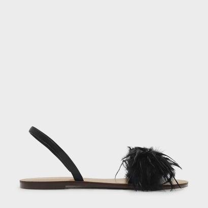 フェザースリングバックサンダル / FEATHERED SLING BACK SANDALS (Black)