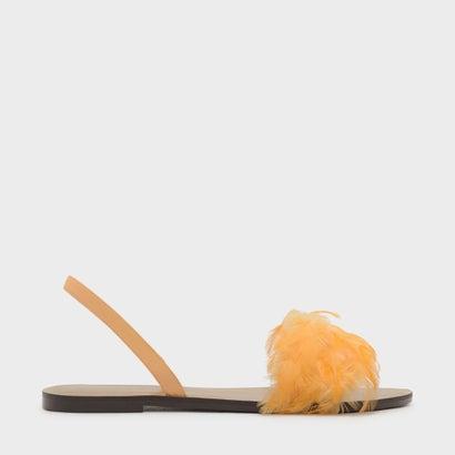 フェザースリングバックサンダル / FEATHERED SLING BACK SANDALS (Yellow)