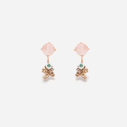 セミプレシャスストーンピアス / SEMI-PRECIOUS STONES PIERCED EARRINGS(Pink)
