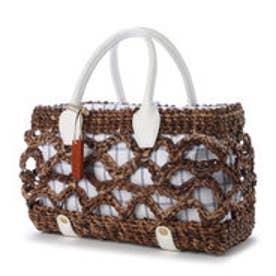 カル Cal アーチ編み箱型バスケット (ホワイト)